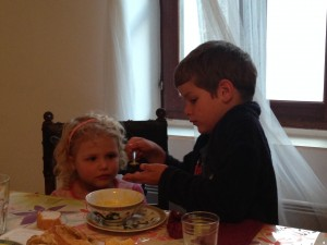 Pieter feeding Annabellé